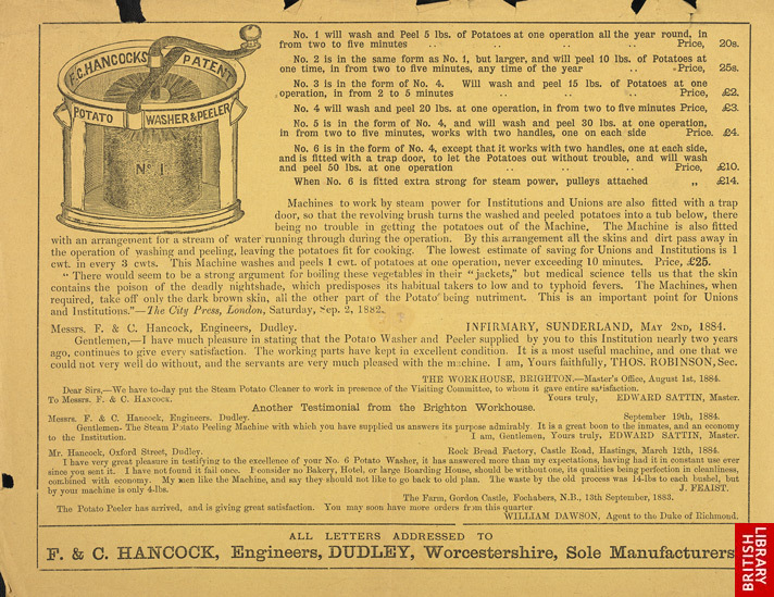 Advert For Hancock's Butter Machine reverse